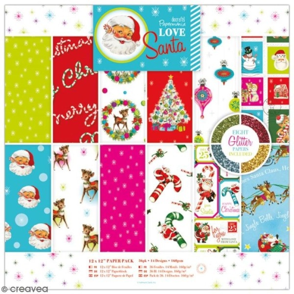 Papier scrapbooking Papermania - Love Santa - 36 feuilles 30 x 30 cm - Photo n°1