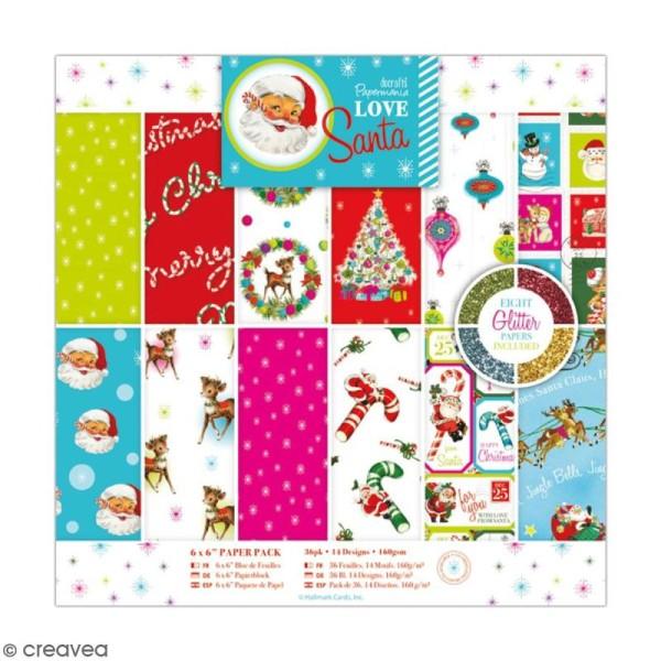 Papier scrapbooking Papermania - Love Santa - 36 feuilles 15 x 15 cm - Photo n°1