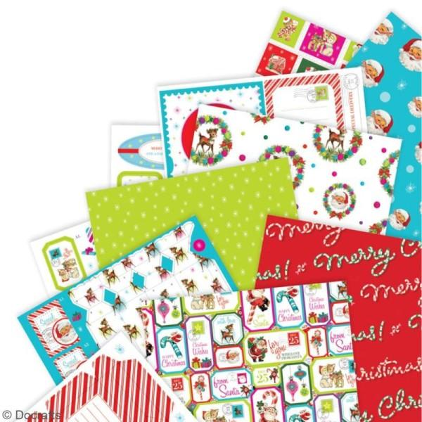 Pack Scrapbooking Papiers et die cuts Docrafts - Love Santa - A4 - 48 pcs - Photo n°2