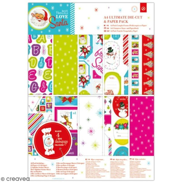 Pack Scrapbooking Papiers et die cuts Docrafts - Love Santa - A4 - 48 pcs - Photo n°1