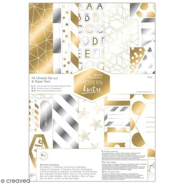 Pack Scrapbooking Papiers et die cuts Docrafts - Modern Lustre - A4 - 48 pcs - Photo n°1