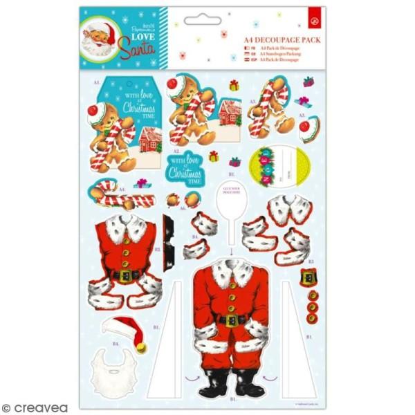 Pack Découpage A4 Docrafts- Love Santa - Bonhomme De Pain D'Épices - Photo n°1