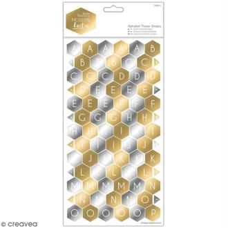 Stickers Alphabet cartonné Docrafts - Modern Lustre - 168 pcs