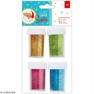 Assortiment de paillettes Love Santa - Doré, vert, rose et bleu - 4 pots
