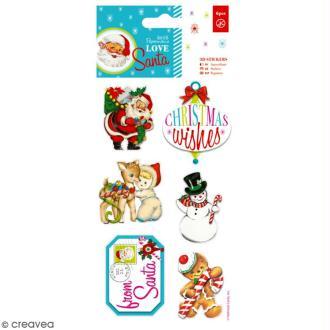 Stickers 3D Docrafts - Love Santa - 6 autocollants