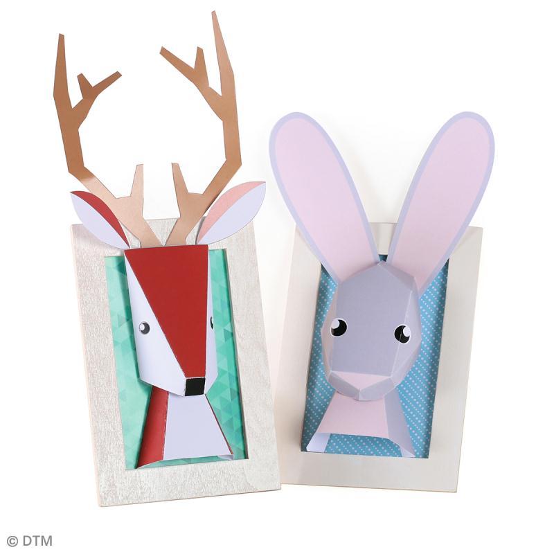 kit troph e papier 3d lapin et cerf jeux cr atifs de 6 10 ans creavea. Black Bedroom Furniture Sets. Home Design Ideas