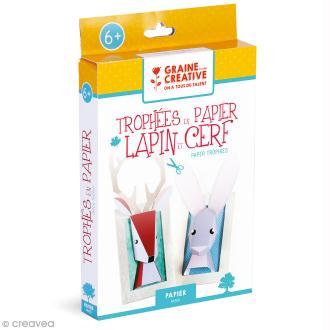 Kit Trophée papier 3D - Lapin et Cerf