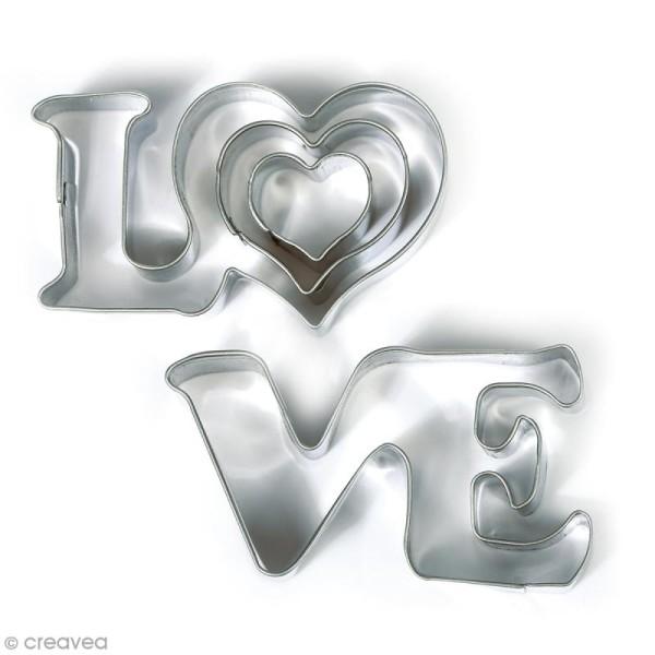 Emporte pièce inox pour modelage - Love - 4 pcs - Photo n°1