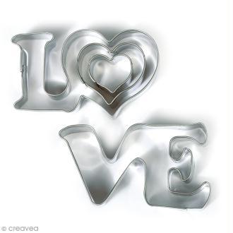 Emporte pièce inox pour modelage - Love - 4 pcs