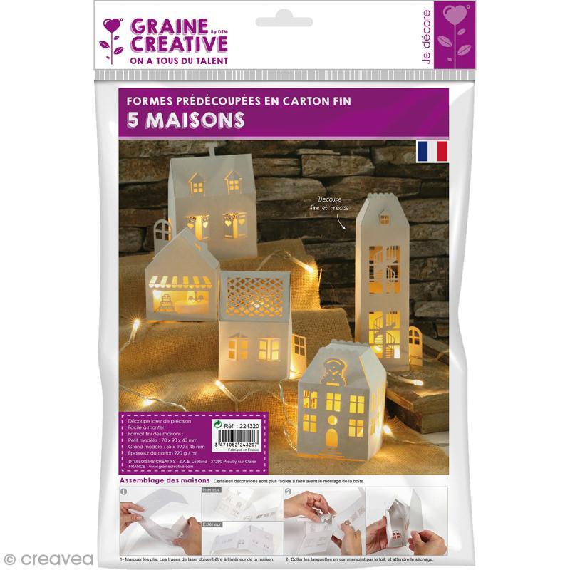 d cor 3d fabriquer maisons en carton souple 5 pcs objets divers d corer creavea. Black Bedroom Furniture Sets. Home Design Ideas