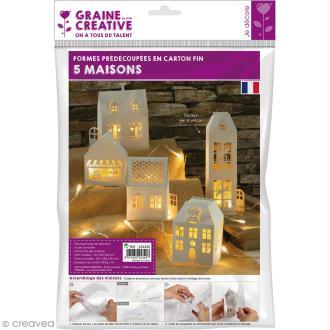 Décor 3D à fabriquer - Maisons en carton souple - 5 pcs