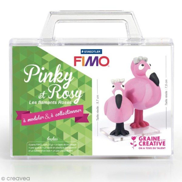 Kit figurine Fimo - Pinky et Rosy - Photo n°1