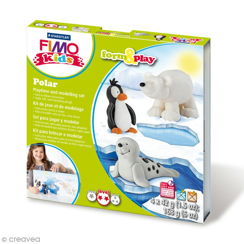 kit p te fimo kids animaux de la banquise niveau moyen fimo kids creavea. Black Bedroom Furniture Sets. Home Design Ideas