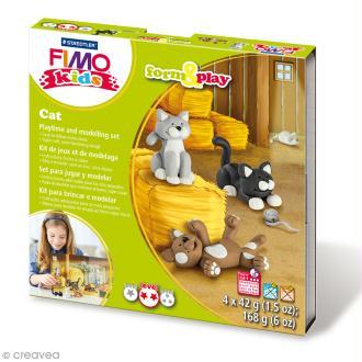 Kit pâte Fimo Kids - Chats - niveau moyen