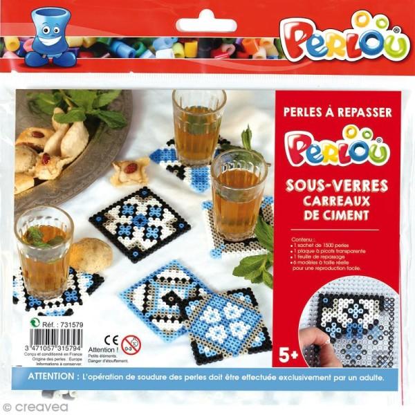 Kit Perles à repasser - Dessous de verre carreaux de ciment - Photo n°1