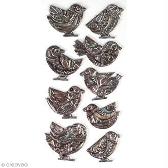 Autocollants métallisés & embossés - Oiseaux - 9 pcs