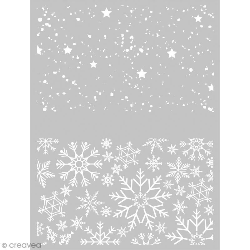 Pochoir pour impression de motifs sur pâte polymère - Noël - 11,4 x 15,3 cm - Photo n°1