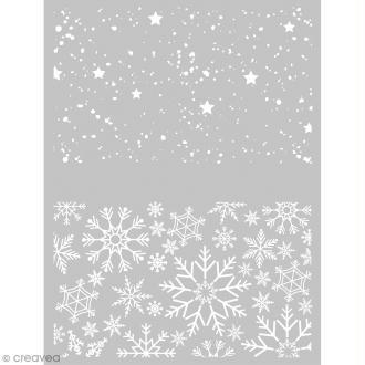 Pochoir pour impression de motifs sur pâte polymère - Noël - 11,4 x 15,3 cm