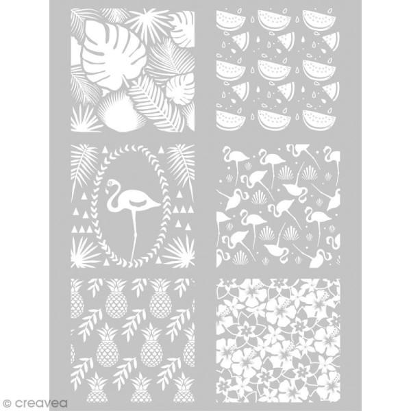 Pochoir pour impression de motifs sur pâte polymère - Tropical - 11,4 x 15,3 cm - Photo n°1
