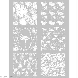 Pochoir pour impression de motifs sur pâte polymère - Tropical - 11,4 x 15,3 cm