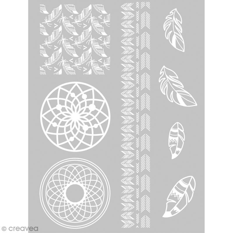 Pochoir pour impression de motifs sur pâte polymère - Attrape-rêves - 11,4 x 15,3 cm - Photo n°1