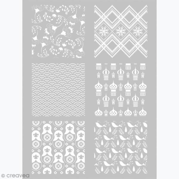 Pochoir pour impression de motifs sur pâte polymère - Russie - 11,4 x 15,3 cm - Photo n°1