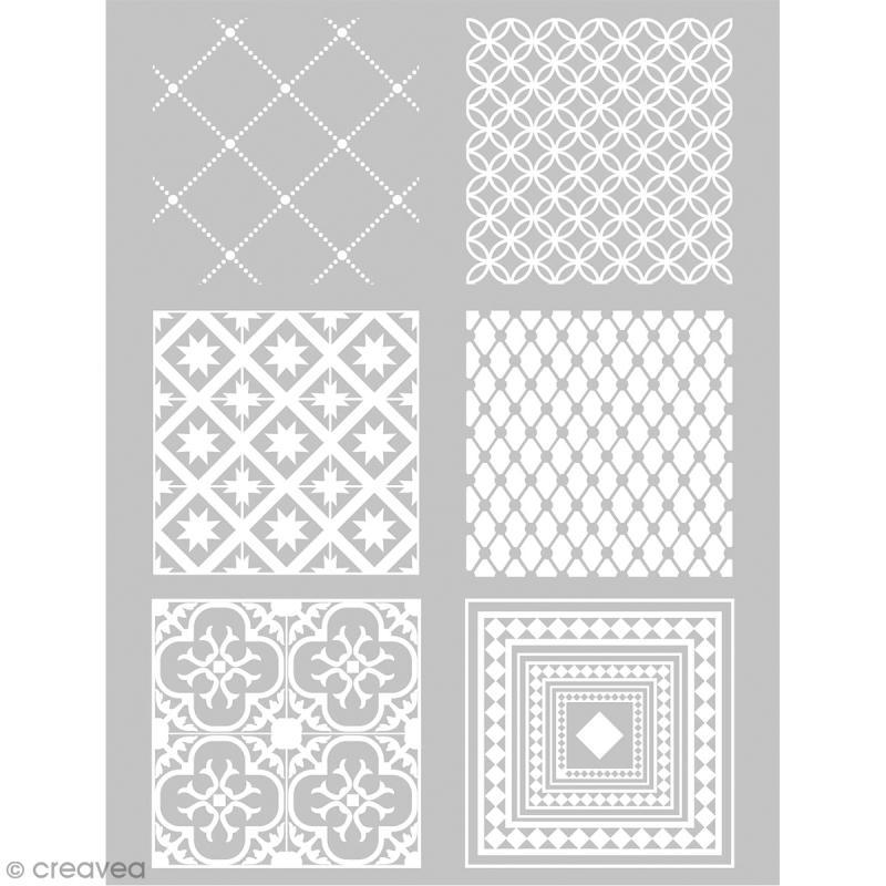 Pochoir pour impression de motifs sur pâte polymère - Carreaux ciment - 11,4 x 15,3 cm - Photo n°1