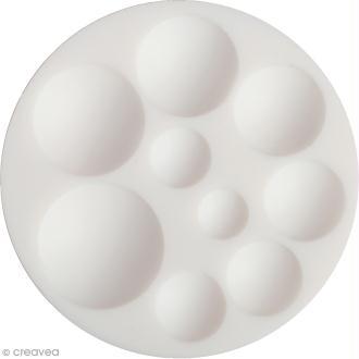 Mini moule silicone souple DTM - Cabochons ronds - 9 formes