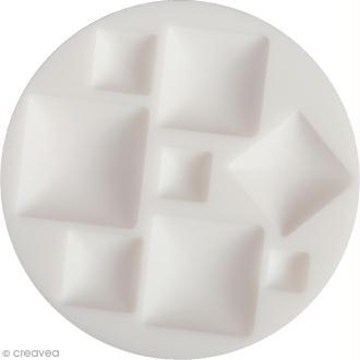 Mini moule silicone souple DTM - Cabochons carrés - 8 formes