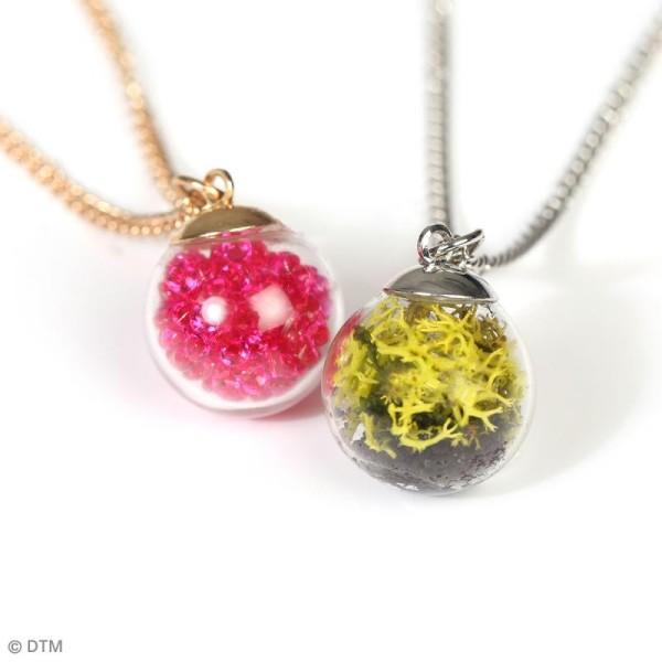Pendentif Fiole en verre Argentée - 1,8 cm - Mini boule - Photo n°2