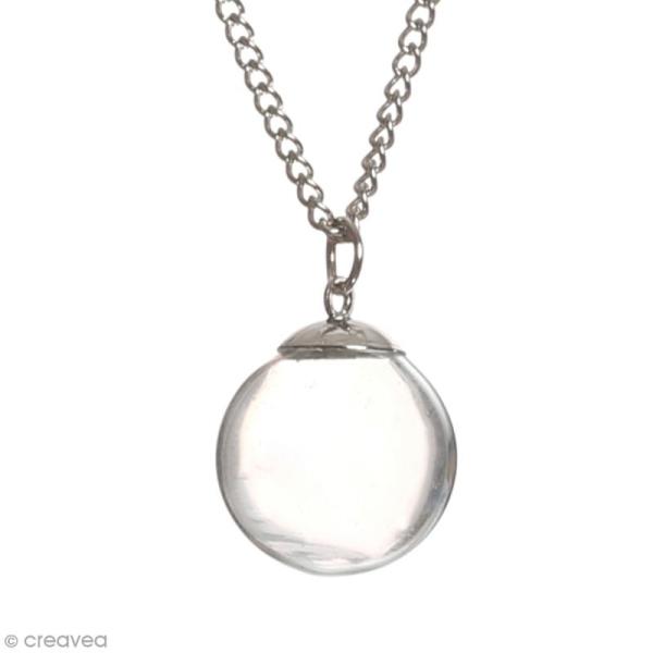 Pendentif Fiole en verre Argentée - 1,8 cm - Mini boule - Photo n°1