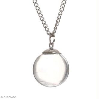 Pendentif Fiole en verre Argentée - 1,8 cm - Mini boule