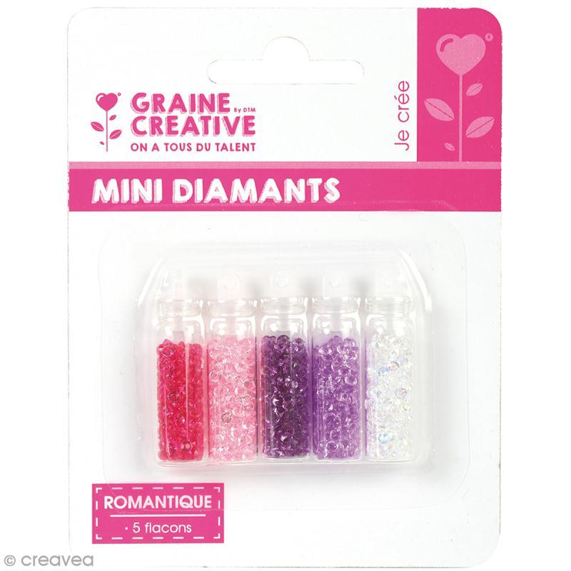 5 Flacons minis diamants - Romantique - Photo n°1