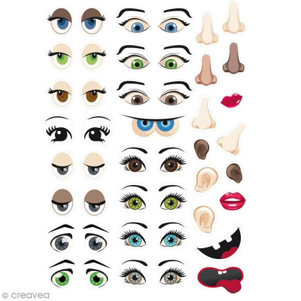 Gommettes autocollantes - Visages - 124 pcs - Photo n°1