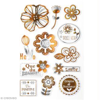 Stickers métallisés - Bonheur - 12 pcs