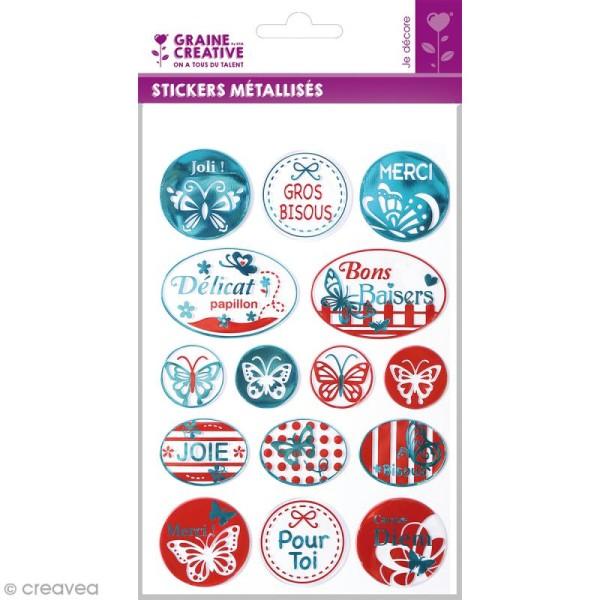 Stickers métallisés - Papillon - 15 pcs - Photo n°1
