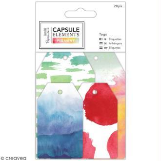 Etiquettes scrapbooking Papermania - Collection capsule Elements Pigment - 20 pcs