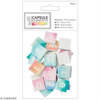 Lettres carrées en bois - Collection capsule Elements Pigment - 2 x 2 cm - 30 pcs