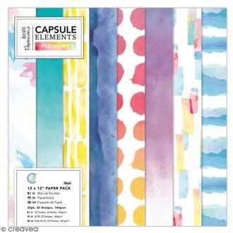 Papier scrapbooking Papermania - Collection capsule Elements Pigment - 30 x 30 cm - 36 feuilles