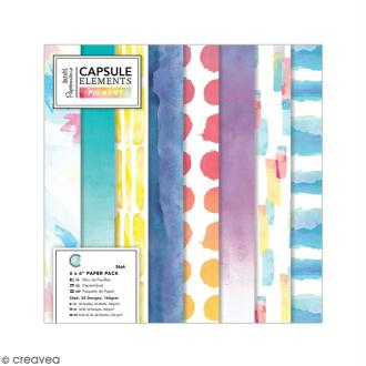 Papier scrapbooking Papermania - Collection capsule Elements Pigment - 15 x 15 cm - 36 feuilles