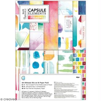 Pack Scrapbooking Papiers et die cuts Docrafts - Collection capsule Elements Pigment - A4 - 48 pcs