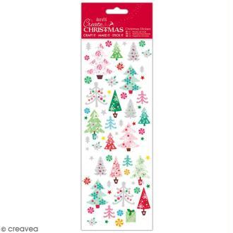 Autocollants de Noël pailletés - Sapins de Noël colorés - 47 pcs