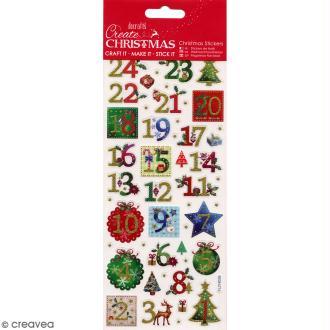 Autocollants de Noël pailletés - Calendrier de l'avent Houx - 50 pcs