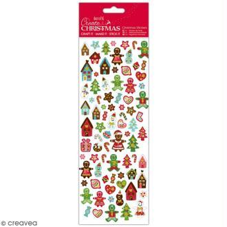Autocollants de Noël pailletés - Bonhomme de Pain d'épices - 68 pcs