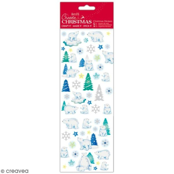 Autocollants de Noël pailletés - Ours Polaires - 47 pcs - Photo n°1