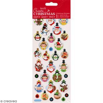 Autocollants de Noël foil - Voeux boules de Noël - 31 pcs