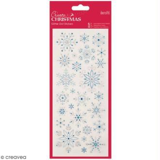 Stickers peel off de Noël pailletés - Flocons de neige - 26 pcs
