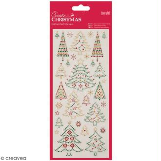 Stickers peel off de Noël pailletés - Arbre de Noël - 31 pcs