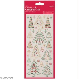 Stickers peel off de Noël pailletés - Arbre de Noël - 31 pcs