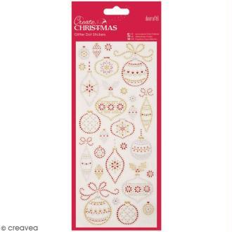 Stickers peel off de Noël pailletés - Boules de Noël - 26 pcs